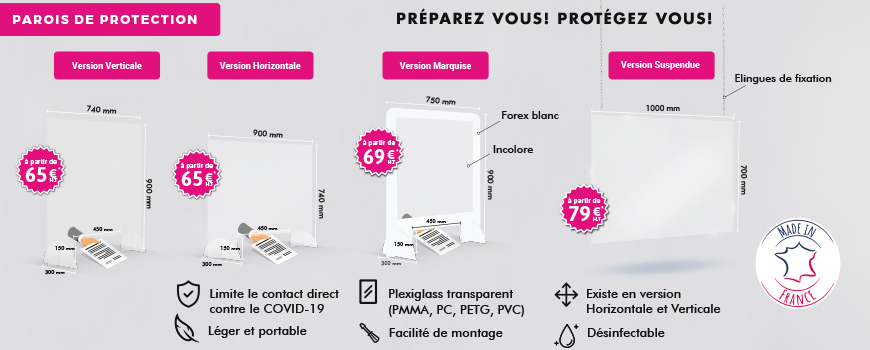 parois de protection en plexiglass Covid 19